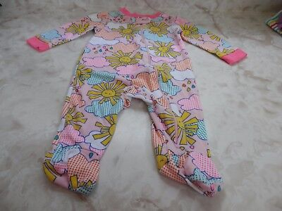 Baby Girl 3-6 Months Kidgets Pastel Sunshine Clouds Footed Zip Up Sleeper
