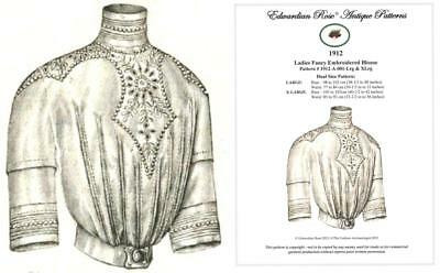 Dual Size(Lrg/XLrg) Sewing Pattern for 1912 Edwardian Lingerie Blouse ~ Elegant!