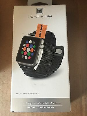 Platinum - Magnetic Stainless Steel Mesh Band for Apple Watch42mm Black #AA