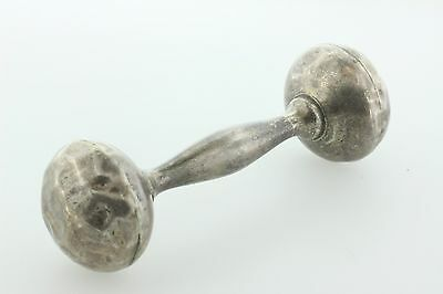 Vintage Sterling Silver 925 Dumbbell Baby Rattle Toy