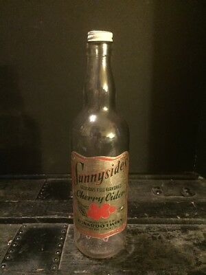 "Vintage Glass Sunnysides Bottle Cherry Cider 11"" Dinardo Twins MFG"
