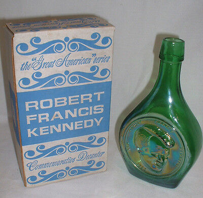 """Sen. Robert F. Kennedy"" Wheaton Glass Green Iridescent Decanter With Box"