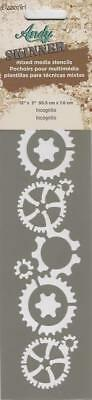 """Andy Skinner Mixed Media Stencil INCOGNITO GEARS 12""""x3"""" Reusable Template"""