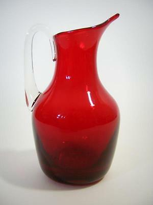 Vintage Whitefriars Ruby Red Art Glass Beak Jug