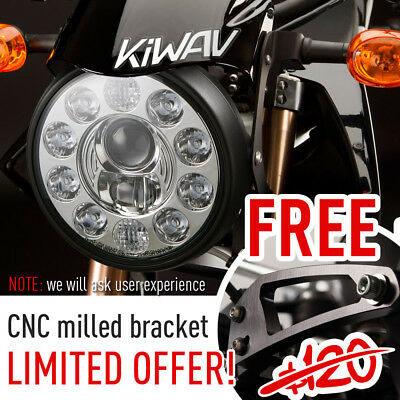 """7"""" LED motorcycle headlight lamp black w/ position lamp 1PCE for Harley BMW"""