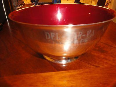 Old Colony Silversmiths 360, Red Enamel Award Bowl, Engraved DEL-MAR-VA, 1st Pla