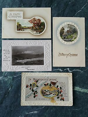 Antique Christmas Postcards Advertising Paper Ephemera Collectable x 4