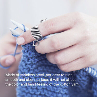 1 Pcs Knitting Craft Tool Metal Braided Knuckle Thimble Yarn Thread Guide Silver