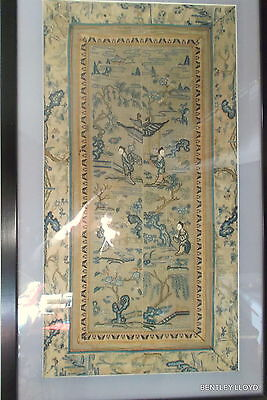 ANTIQUE SILK EMBROIDERY - CHINESE FINE SILK EMBROIDERED PANELS Ca19th.C