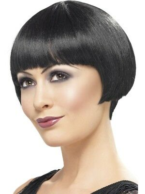 1920s Flapper Bob Wig Black Short Adults Ladies Fancy Dress Costume Accessory
