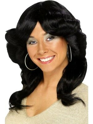 70s Flick Wig Black Long Wavy and Layered Ladies Fancy Dress Costume Accessory