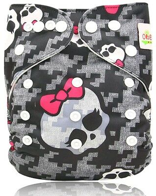 One New Monster High Pocket Cloth Diaper Nappy Reusable Washable Adjustable Size