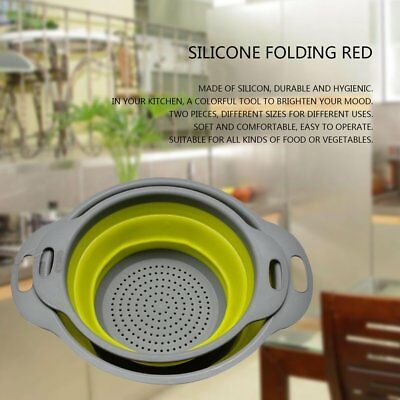 2pcs/set Collapsible Net Filter Colander Set Silicone Washing Drying Strainer YF