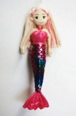 Brand New Cotton Candy 45cm Riley Hot Pink Mermaid Child's Soft Toy Doll