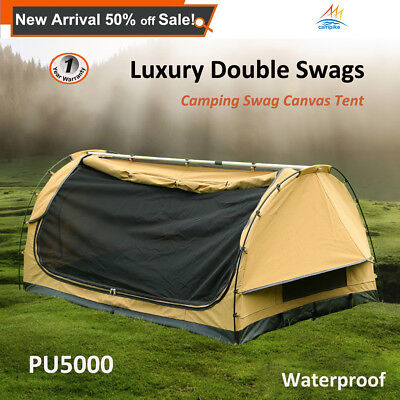 Luxury Double Camping Swags Outdoor Hiking Canvas Swag Free Standing Dome Tent