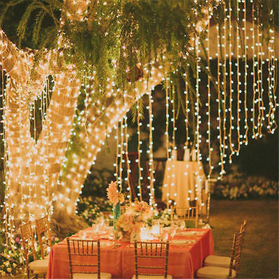 WARM WHITE 100 200 300 400LED Solar Powered Fairy String Light Garden Party XMAS