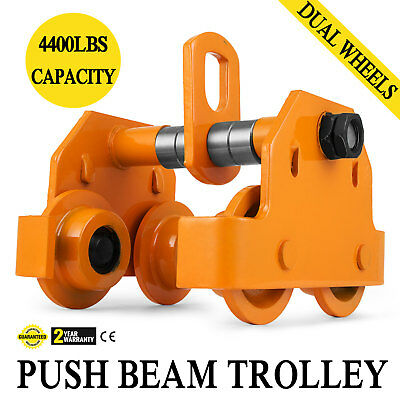 Durable 2 Ton Push Beam Trolley W/ 4400 Lbs Weight Capacity To Move Heavy Loads