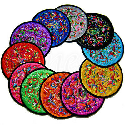 2pcs Vintage Ethnic Embroidery Drink Coaster Cup Pad Tableware Placemat 12 Color