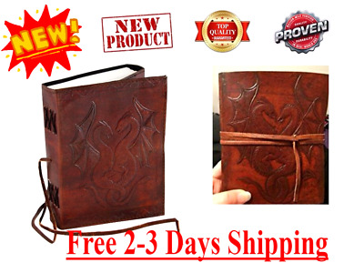 Dual Dragon Leather Drawing Sketch Book Paper Sheet Art Notebook Vintage Journal