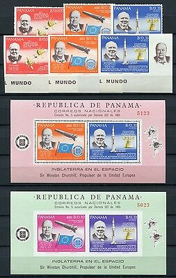 25/SPACE RAUMFAHRT 1966 PANAMA Churchill Rakete 933-35 A/B + Block 59-60 ** RAR
