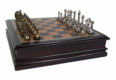 METAL CHESS SET Deluxe Classic Wood Board and Storage Set *NEW*