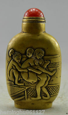 Collectible Decorated Old Handwork Copper Carved MAke Love Snuff Bottle