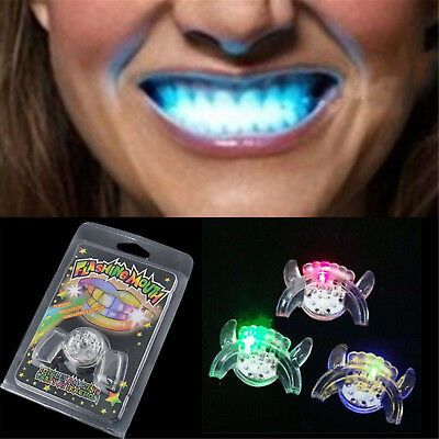 Flashing LED Light Up Mouth Braces Piece Glow Teeth For Halloween Party Rave IT