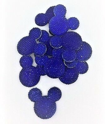 x10 Dark Royal Blue Sparkle Glitter Mouse Ears Charms Dummy Clips