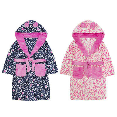 4Kidz Infant Girls Leopard Print Animal Dressing Gown Fleece Hooded Robe Novelty