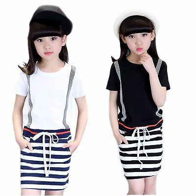 Quality Girls Black & White Stripe Short Sleeve Cotton Dress Age 5 - 10 Years