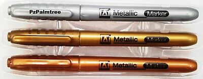 3 Metallic Marker Pens Gold Silver Bronze Paper Card Glass Metal Plastic Xmas
