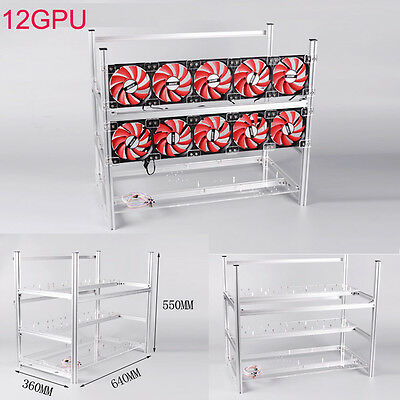 Aluminum Open Air Mining Miner Rig Stackable Frame Case 12 GPU For ETH Ethereum