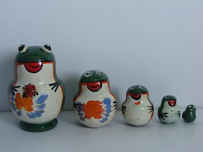New Hand Painted Mini Russian Nesting Doll Frog 5 Pc Set Made In Russia
