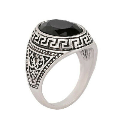 2017 Trendy Big Signet Vintage Rings For Women Oval Black Stone Rings Men Coo...