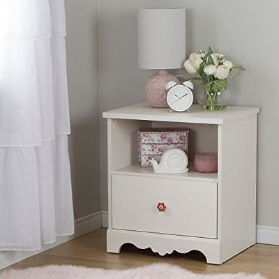 South Shore Furniture Lily Rose 1-Drawer Nightstand, White Wash