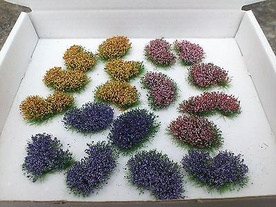18 Random Shaped Flower Clumps for OO/ HO Model Railway/Dioramas Scenery!!