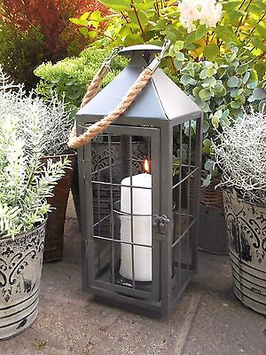 Large Vintage Style French Grey Metal Lantern Candle Holder Garden / Home NEW
