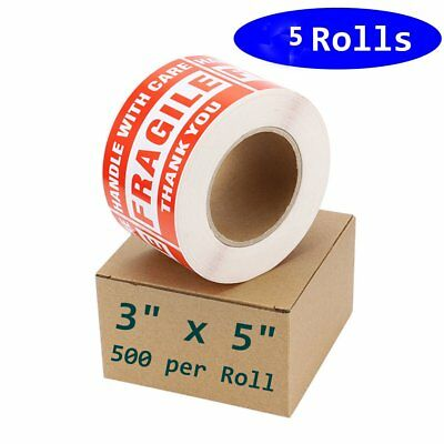 "5 Rolls 500/Roll Large 3"" x 5"" Fragile Stickers Handle with Care Shipping Labels"