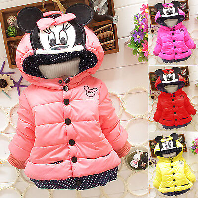 Baby Kids Girls Minnie Mouse Hooded Hoodie Coat Jacket Children Winter Outwear