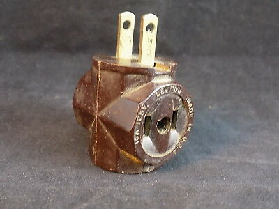 Vintage LEVITON 15A 125V electrical plug extender 1 to 3 2 prong plugs BAKELITE?