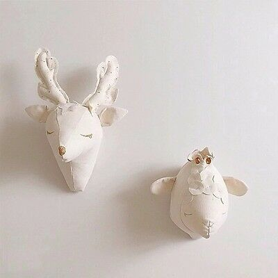 Woodland Nursery Stuffed Animal Deer Sheep Unicorn Head Wall Mount Baby Room