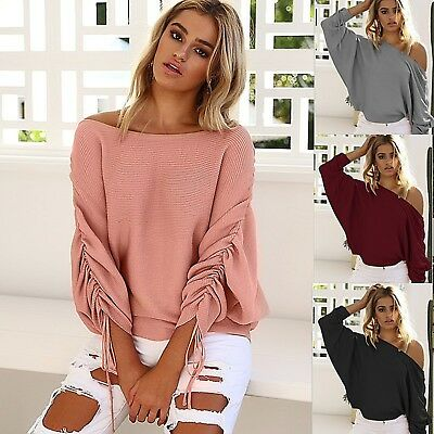 Womens Off Shoulder Knitted Sweater Baggy Loose Pullover Jumpers Tops UK 6-16