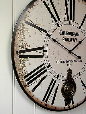 EXTRA LARGE 60cm VINTAGE STYLE STATION WALL CLOCK SHABBY CHIC RAILWAY CLOCK