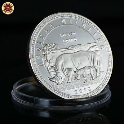 WR African Wildlife Silver Coin Zambia Rhino Rhinoceros Collection Gift For Men