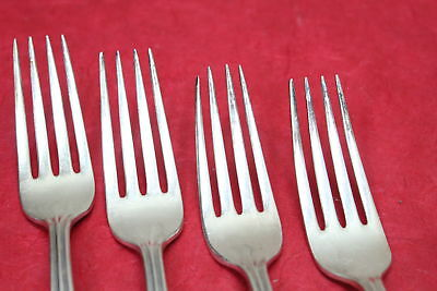 4 Wm Rogers Lady Densmore Woodland Basque Rose Silverplate Dinner Forks