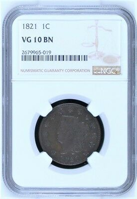 1821 Large Cent NGC VG10 BN