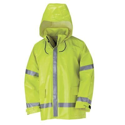 NEW SEALED!! Bulwark Safety Flame Resistant Hi-Visibility Rain Jacket JXN6YE XL