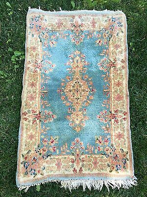 "Antique Authentic Persian Hand Made Rug 3' 2"" x 2' Kerman Rug Lovely"
