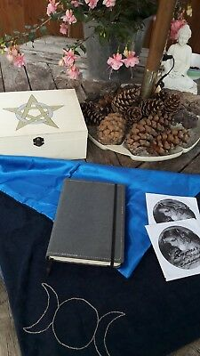 Hand Crafted Wooden Altar Box, Cloth, Book & Discs of Shadows Set. Pagan, Witch