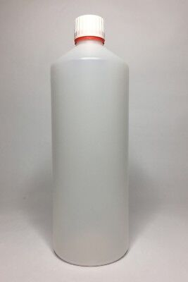 Empty 1000ml (1 Litre) Natural HDPE Plastic Bottle+Tamper Evident Cap ANY AMOUNT